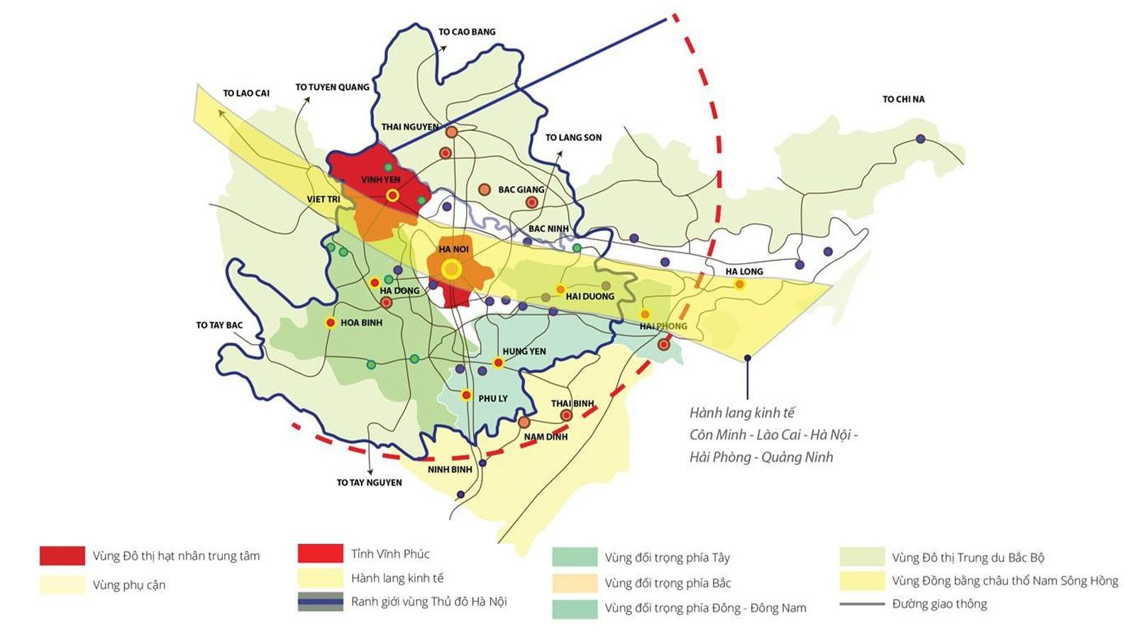 Bản đồ kết nối vùng của tỉnh Vĩnh Phúc.