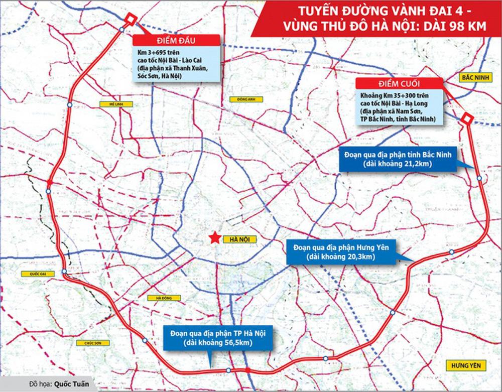 Đường Vành đai 4 hâm nóng thị trường bất động sản tỉnh ven Hà Nội
